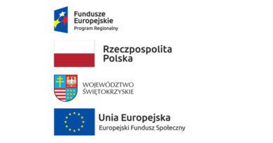 Na białym tle widać cztery flagi. Pierwsza: Po lewej stronie na granatowym tle trzy gwiazdy w kolorze białym, czerwonym i żółtym a po prawej stronie napis: Fundusze Europejskie Program Regionalny. Druga: Prostokąt biało-czerwony. Trzecia: Z lewej strony herb podzielony na cztery części: pierwsza przedstawia żółtą pionową kreskę przeciętą dwiema mniejszymi na niebieskim tle, druga przedstawia białego dużego ptaka z rozłożonymi skrzydłami, trzecia obrazuje przeplatane na przemian białe i czerwone pasy, czwarta natomiast przedstawia osiem żółtych gwiazdek na niebieskim tle a w prawym dolnym rogu napis: Województwo Świętokrzyskie. Czwarta: Po lewej stronie niebieski prostokąt z dwunastoma żółtymi gwiazdami rozłożonymi w okręgu a po prawej stronie napis: Unia Europejska Europejski Fundusz Społeczny